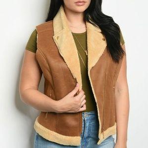 Jackets & Blazers - Karina Plus Size Camel Faux Suede Vest